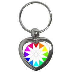 Rainbow Dodecagon And Black Dodecagram Key Chains (Heart)