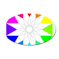 Rainbow Dodecagon And Black Dodecagram Oval Magnet