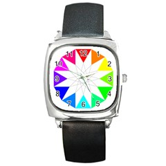 Rainbow Dodecagon And Black Dodecagram Square Metal Watch