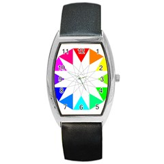 Rainbow Dodecagon And Black Dodecagram Barrel Style Metal Watch