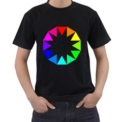 Rainbow Dodecagon And Black Dodecagram Men s T Shirt (black) (two Sided)