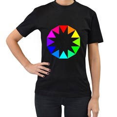 Rainbow Dodecagon And Black Dodecagram Women s T Shirt (black) (two Sided)