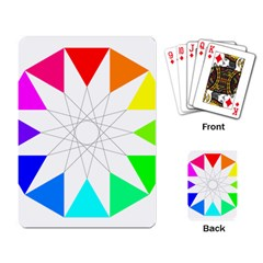 Rainbow Dodecagon And Black Dodecagram Playing Card