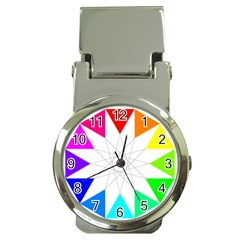 Rainbow Dodecagon And Black Dodecagram Money Clip Watches