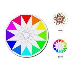 Rainbow Dodecagon And Black Dodecagram Playing Cards (Round)
