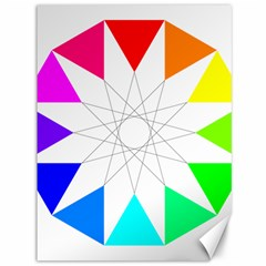 Rainbow Dodecagon And Black Dodecagram Canvas 36  X 48