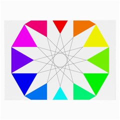 Rainbow Dodecagon And Black Dodecagram Large Glasses Cloth (2-Side)