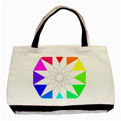 Rainbow Dodecagon And Black Dodecagram Basic Tote Bag (Two Sides)