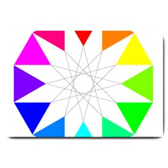 Rainbow Dodecagon And Black Dodecagram Large Doormat