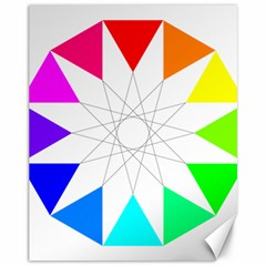Rainbow Dodecagon And Black Dodecagram Canvas 11  x 14