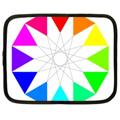 Rainbow Dodecagon And Black Dodecagram Netbook Case (Large)