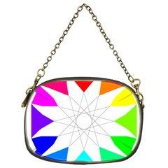 Rainbow Dodecagon And Black Dodecagram Chain Purses (two Sides)