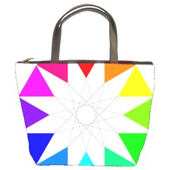 Rainbow Dodecagon And Black Dodecagram Bucket Bags