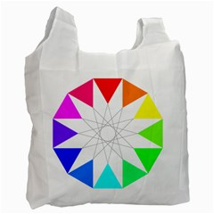 Rainbow Dodecagon And Black Dodecagram Recycle Bag (two Side)