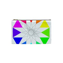 Rainbow Dodecagon And Black Dodecagram Cosmetic Bag (Small)