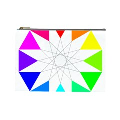 Rainbow Dodecagon And Black Dodecagram Cosmetic Bag (large)