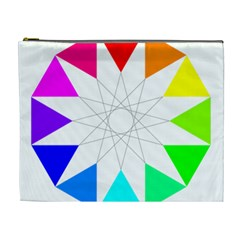 Rainbow Dodecagon And Black Dodecagram Cosmetic Bag (XL)