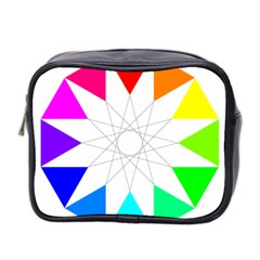 Rainbow Dodecagon And Black Dodecagram Mini Toiletries Bag 2 Side