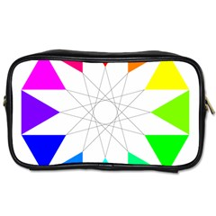 Rainbow Dodecagon And Black Dodecagram Toiletries Bags 2 Side