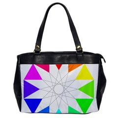 Rainbow Dodecagon And Black Dodecagram Office Handbags