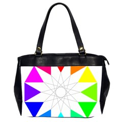 Rainbow Dodecagon And Black Dodecagram Office Handbags (2 Sides)