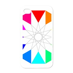 Rainbow Dodecagon And Black Dodecagram Apple iPhone 4 Case (White)