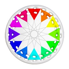 Rainbow Dodecagon And Black Dodecagram Ornament (round Filigree)