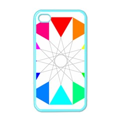 Rainbow Dodecagon And Black Dodecagram Apple Iphone 4 Case (color)