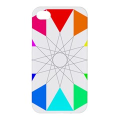 Rainbow Dodecagon And Black Dodecagram Apple Iphone 4/4s Hardshell Case