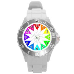 Rainbow Dodecagon And Black Dodecagram Round Plastic Sport Watch (l)