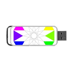 Rainbow Dodecagon And Black Dodecagram Portable Usb Flash (one Side)