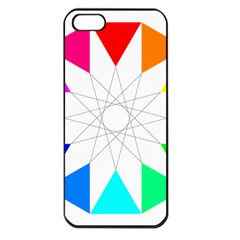Rainbow Dodecagon And Black Dodecagram Apple Iphone 5 Seamless Case (black)