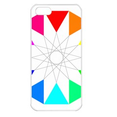 Rainbow Dodecagon And Black Dodecagram Apple iPhone 5 Seamless Case (White)