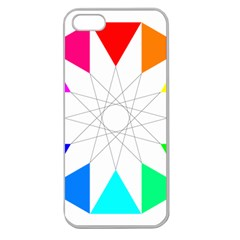 Rainbow Dodecagon And Black Dodecagram Apple Seamless Iphone 5 Case (clear)