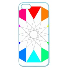 Rainbow Dodecagon And Black Dodecagram Apple Seamless Iphone 5 Case (color)