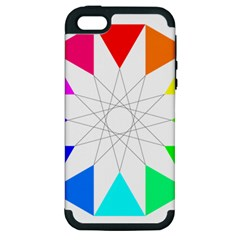 Rainbow Dodecagon And Black Dodecagram Apple Iphone 5 Hardshell Case (pc+silicone)