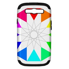 Rainbow Dodecagon And Black Dodecagram Samsung Galaxy S III Hardshell Case (PC+Silicone)