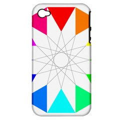Rainbow Dodecagon And Black Dodecagram Apple iPhone 4/4S Hardshell Case (PC+Silicone)