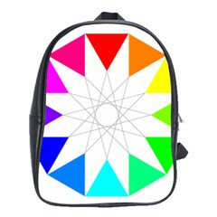 Rainbow Dodecagon And Black Dodecagram School Bags (xl)