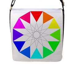 Rainbow Dodecagon And Black Dodecagram Flap Messenger Bag (L)