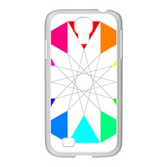 Rainbow Dodecagon And Black Dodecagram Samsung Galaxy S4 I9500/ I9505 Case (white)