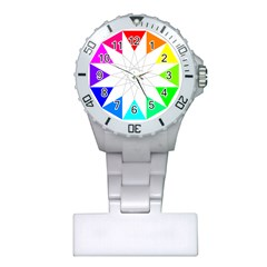 Rainbow Dodecagon And Black Dodecagram Plastic Nurses Watch