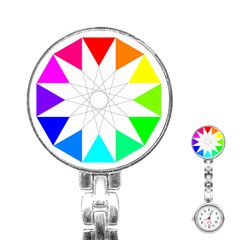 Rainbow Dodecagon And Black Dodecagram Stainless Steel Nurses Watch
