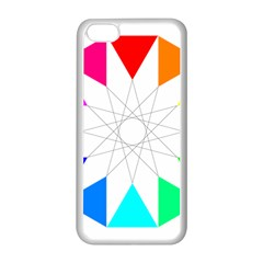 Rainbow Dodecagon And Black Dodecagram Apple iPhone 5C Seamless Case (White)