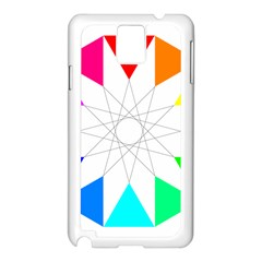 Rainbow Dodecagon And Black Dodecagram Samsung Galaxy Note 3 N9005 Case (white)