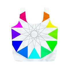 Rainbow Dodecagon And Black Dodecagram Full Print Recycle Bags (m)