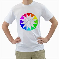 Rainbow Dodecagon And Black Dodecagram Men s T Shirt (white)