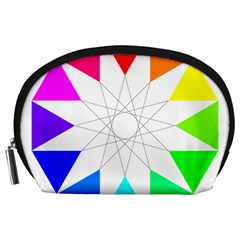 Rainbow Dodecagon And Black Dodecagram Accessory Pouches (Large)