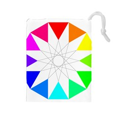 Rainbow Dodecagon And Black Dodecagram Drawstring Pouches (large)