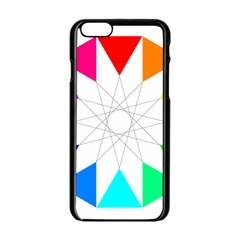 Rainbow Dodecagon And Black Dodecagram Apple Iphone 6/6s Black Enamel Case